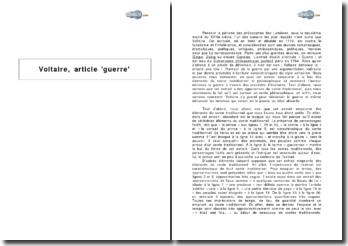Voltaire, article guerre, extrait du Dictionnaire philosophique portatif