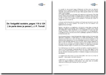 De l'inégalité scolaire, pages 119 à 124 (Je parle donc je pense), Jean-Pierre Terrail