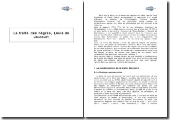 La traite des nègres, article de l'Encyclopédie de Louis de Jaucourt