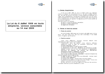 La loi du 6 Juillet 1989, version consolidée au 14 mai 2009 - contrat de location de locaux à usage d'habitation principale ou mixte