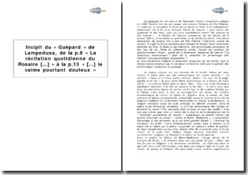Incipit du « Guépard » de Lampedusa, de la p.9, « La récitation quotidienne du Rosaire [...] » à la p.13, « [...] le calme pourtant douteux »