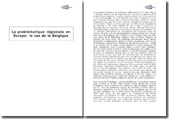 La problématique régionale en Europe : le cas de la Belgique