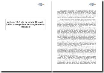 Article 16-1 de la loi du 12 avril 2000 : l'abrogation des règlements illégaux