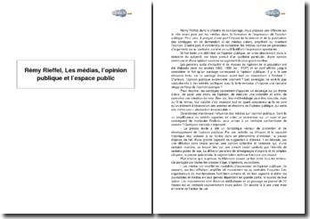 Rémy Rieffel, Les médias, l'opinion publique et l'espace public - chapitre 2 de Sociologie des médias