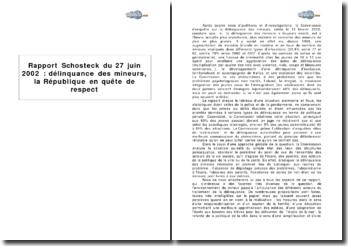Rapport Schosteck du 27 juin 2002 : délinquance des mineurs, la République en quête de respect