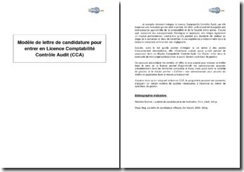 Candidature pour entrer en Licence Comptabilité Contrôle Audit (CCA)