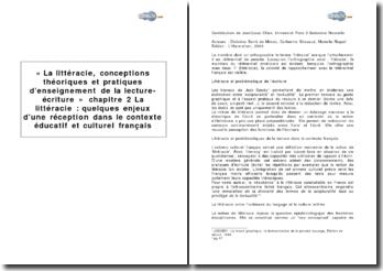 « La littéracie, conceptions théoriques et pratiques d'enseignement de la lecture-écriture », chapitre 2 - La littéracie : quelques enjeux d'une réception dans le contexte éducatif et culturel français