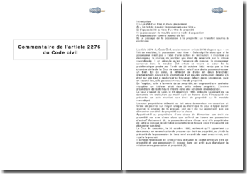 Article 2276 du Code civil - en fait de meubles, la possession vaut titre