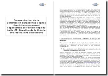 Communication de la Commission européenne : lignes directrices concernant l'application de l'article 81 3 du traité CE. Question de la théorie des restrictions accessoires