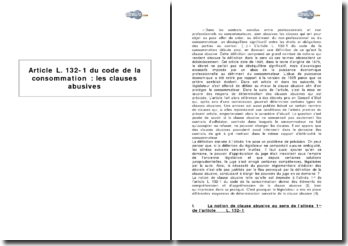 Article L. 132-1 du code de la consommation - les clauses abusives
