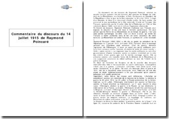 Discours du 14 juillet 1915 de Raymond Poincaré