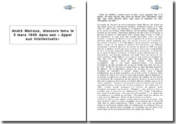André Malraux, discours tenu le 5 mars 1948 dans son « Appel aux intellectuels » : construction européenne et patriotisme