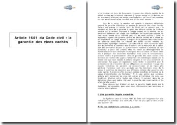 Article 1641 du Code civil : la garantie des vices cachés