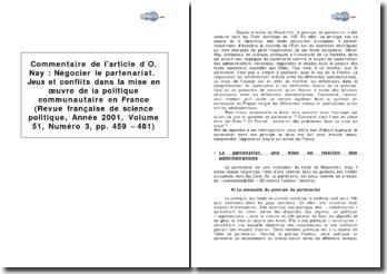 Article d'Olivier Nay : Négocier le partenariat. Jeux et conflits dans la mise en oeuvre de la politique communautaire en France (Revue française de science politique, Année 2001, Volume 51, Numéro 3, pp. 459 - 481)