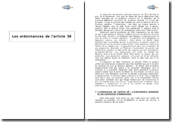 Les ordonnances de l'article 38 de la Constitution
