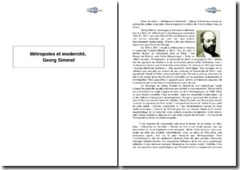 Métropoles et modernité, Georg Simmel