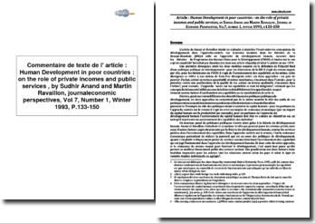 Human Development in poor countries : on the role of private incomes and public services de Sudhir Anand et Martin Ravaillon, journaleconomic perspectives, Volume 7, Numéro 1, Hiver 1993, pages 133 à 150