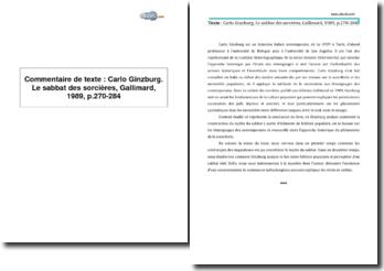 Carlo Ginzburg, Le sabbat des sorcières, Gallimard, 1989, p.270-284