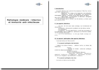 Pathologie médicale : infection et immunité anti-infectieuse