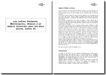 Les Lettres Persanes, Montesquieu : Chacun a un mépris souverain pour les deux autres, lettre 44