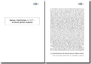 Gaius, Institutes, I, 1-7 : le droit privé romain