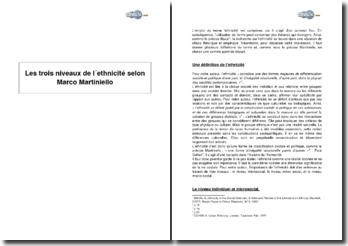 Les trois niveaux de l'ethnicité selon Marco Martiniello