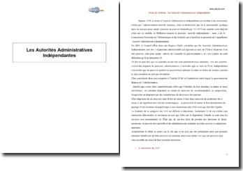Les Autorités Administratives Indépendantes (AAI)