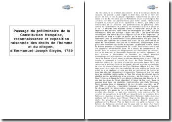 Extrait du préliminaire de la Constitution française, reconnaissance et exposition raisonnée des droits de l'homme et du citoyen, d'Emmanuel-Joseph Sieyès, 1789