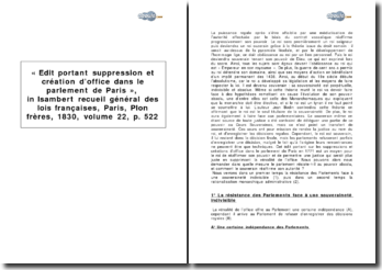 « Edit portant suppression et création d'office dans le parlement de Paris », in: Isambert, Recueil général des lois françaises, Paris, Plon frères, 1830, volume 22, p. 522