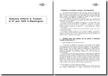 Discours d'Harry S. Truman, le 27 juin 1950 à Washington - la guerre de Corée