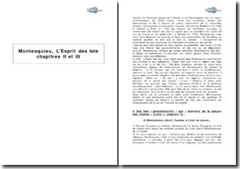 Montesquieu, L'Esprit des lois, chapitres II et III