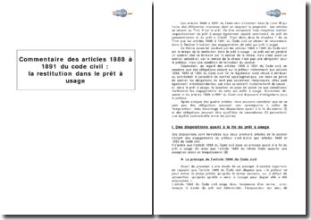 Articles 1888 à 1891 du Code civil : la restitution dans le prêt à usage