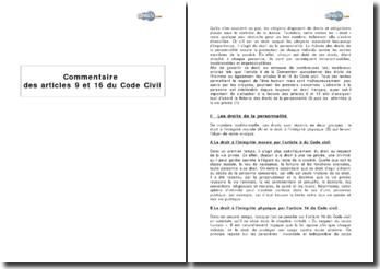 Articles 9 et 16 du Code Civil : les droits de la personnalité