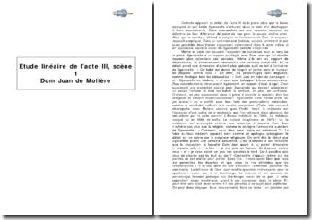 Etude linéaire de l'acte III, scène 1 du Dom Juan de Molière
