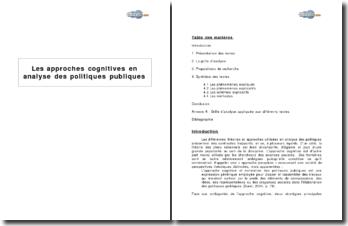Les approches cognitives en analyse des politiques publiques