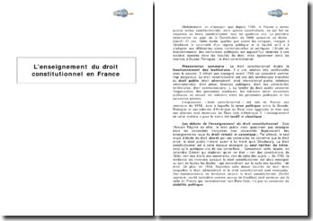 L'enseignement du droit constitutionnel en France