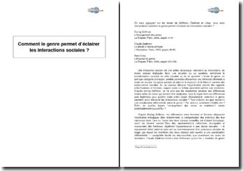 Comment le genre permet d'éclairer les interactions sociales ? D'après des extraits de Erving Goffman, Claude Zaidman et Ilana Löwy