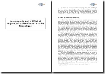 Les rapports entre l'Etat et l'Eglise, de la Révolution à la IIIe République