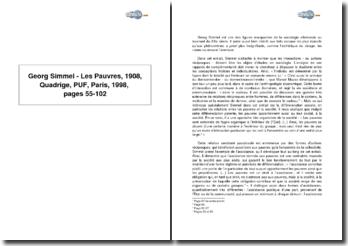 Georg Simmel, Les Pauvres, 1908, Quadrige, PUF, Paris, réédition 1998, pages 55-102