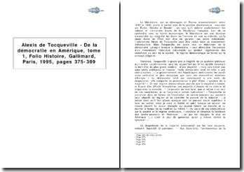 Alexis de Tocqueville, De la démocratie en Amérique, tome 1, Folio Histoire, Gallimard, Paris, 1995, pages 375-389