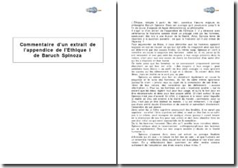 Extrait de l'appendice de l'Ethique I de Baruch Spinoza