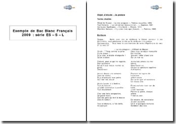 Exemple de Bac Blanc Français 2009 : exercices autour de quatre textes poétiques d'Alfred de Musset, Paul Verlaine, Guillaume Apollinaire et Albertine Sarrazin
