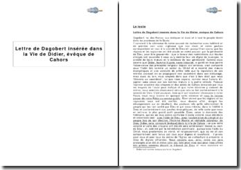 Lettre de Dagobert insérée dans la Vie de Didier, évêque de Cahors