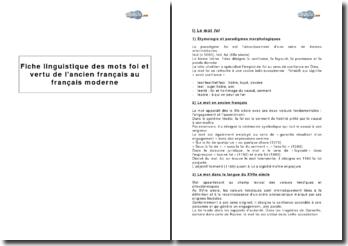 Etude linguistique des mots foi et vertu de l'ancien français au français moderne