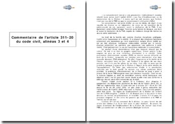 Article 311-20 du Code civil, alinéas 3 et 4 - procréation médicalement assistée et filiation