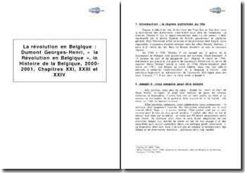 Dumont Georges-Henri, « La Révolution en Belgique », in Histoire de la Belgique, 2000-2001, chapitres XXI, XXIII et XXIV
