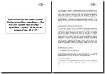 Bertrand Dubreuil, Collèges en milieux populaires, « Ces mots qui veulent nous changer » - quatrième chapitre, Violences et langages (pp. 97 à 127)
