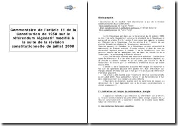 Article 11 de la Constitution de 1958 : le référendum législatif modifié à la suite de la révision constitutionnelle de juillet 2008