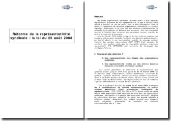 Réforme de la représentativité syndicale : la loi du 20 août 2008