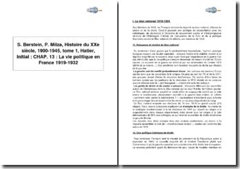Serge Berstein, Pierre Milza, Histoire du XXe siècle, 1900-1945, tome 1, Hatier, Initial : chapitre 13, La vie politique en France, 1919-1932